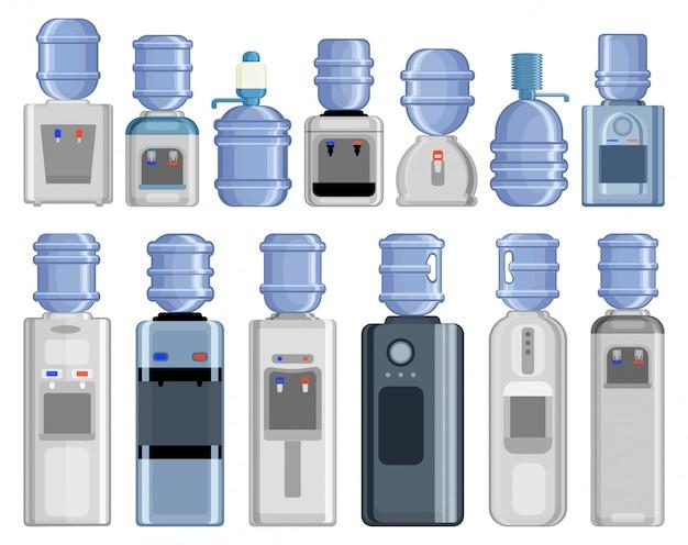 水クーラー漫画は、アイコンを設定します。白い背景の上の図のボトル。漫画セットアイコンウォータークーラー。