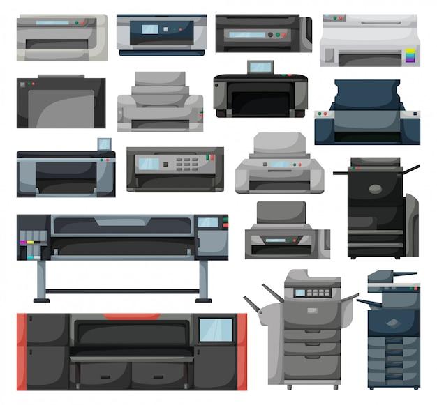 Значок принтера мультфильм установить значок. машина сканера иллюстрации на белой предпосылке. мультфильм установить значок принтера.