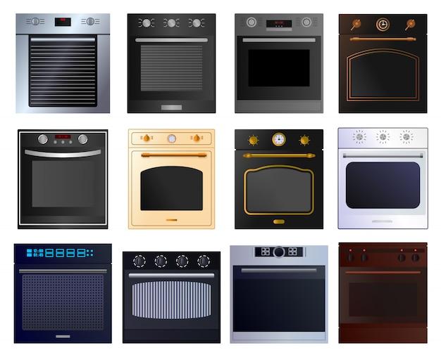 Духовка мультфильм установить значок. иллюстрация иллюстрация электрическая плита на белом фоне. мультфильм набор иконок печь.