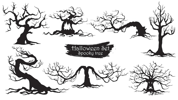 ハロウィンのおかしな木のシルエットのコレクション