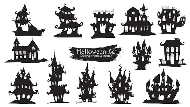 ハロウィンのおかしな城のシルエットコレクション