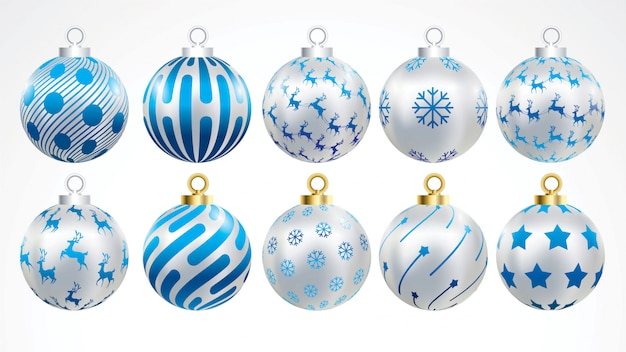 装飾品とベクトルゴールド、シルバー、ブルーのクリスマスボールのセット。