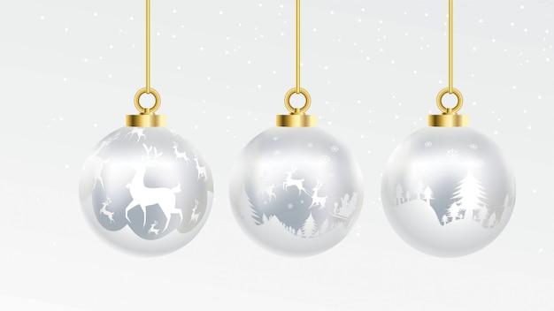 装飾品とベクトル金と銀のクリスマスボールのセット。孤立した金のコレクション