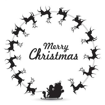 Рождественский венок элементы с санта-клаусом едут оленьи сани, кружащиеся вокруг