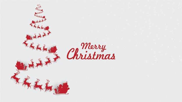 トナカイのそりでメリークリスマスレッドクリスマスツリー