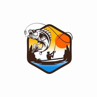 Старинный логотип рыбалки