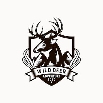 ビンテージの野生の自然の鹿のラベルとロゴのテンプレート