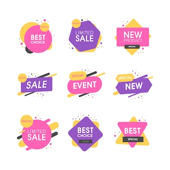 Набор премиальных качественных этикеток. современные иллюстрации этикетки для покупок, электронной коммерции, продвижения продукции, наклейки в социальных сетях, маркетинг.