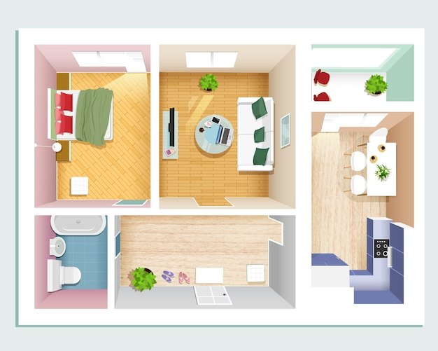 モダンなグラフィックアパートトップビュー:ベッドルーム、リビングルーム、キッチン、ホール、バスルーム