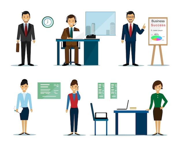 ビジネス人々の文字:ビジネスマンやオフィスのビジネスウーマン。フラットスタイルのベクトル図