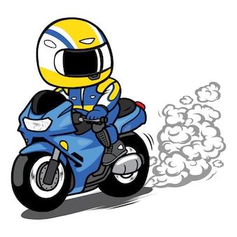 オートバイのライダーが漫画のベクトルのゴムを燃やす