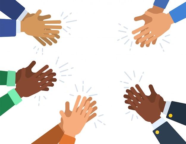 人々は拍手喝采します。多くの異なる漫画の人間の手が拍手を送ります。ベクトルフラットイラスト。