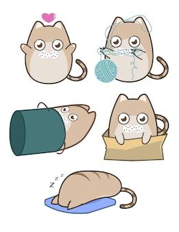 かわいい太った丸い茶色の猫コレクション。猫は自由な抱擁をして、箱の中に座って眠って、バケツの中に、糸の玉を弾きます。漫画のキャラクターデザインフラットシンプルなスタイル。