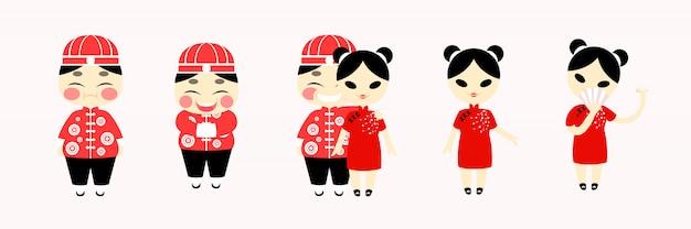 カップル中国コスチューム赤の伝統的な幸せなデブ男と少女漫画キャラクターフラットデザイン。