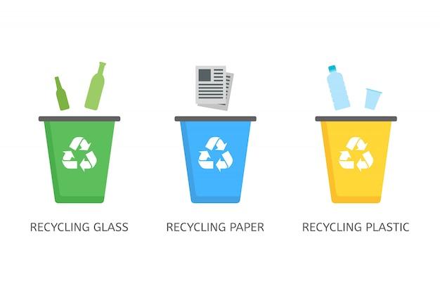 フラットスタイルのプラスチック、紙、ガラスのアイコンのごみ箱