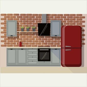 ロフトスタイルの家具とキッチンのインテリア。家のダイニングエリア、台所用品。家具サイトのイラストスライド。赤レンガの壁。