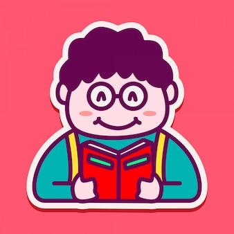 本を読んでいる男の子のキャラクターのためのかわいいステッカー
