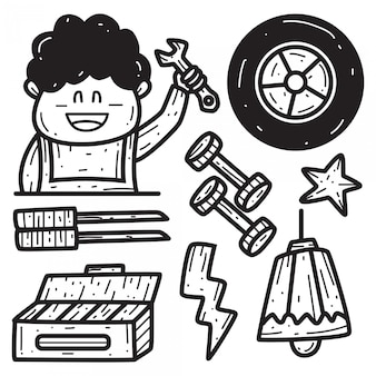 手描き機械漫画落書きデザインテンプレート