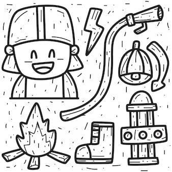 Рисованный мультфильм огонь дизайн каракули