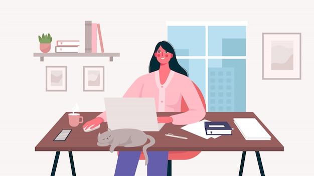Женщина, работающая на своем столе с ноутбуком. домашний офис. внештатный или изучение концепции. повседневная жизнь внештатного работника, повседневная рутина. удаленный работник. симпатичные иллюстрации в плоском мультяшном стиле.