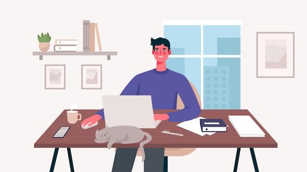 Человек, работающий на своем столе с ноутбуком
