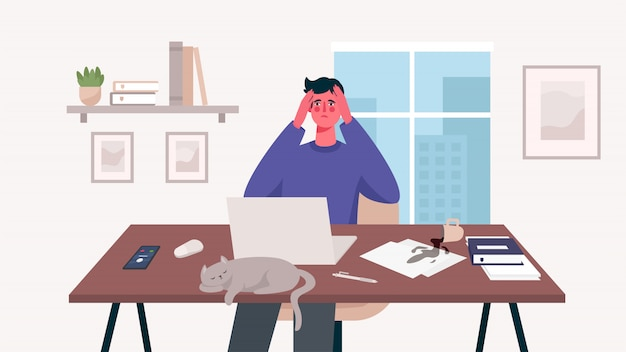 Человек, работающий на ее столе с ноутбуком. домашний офис. много работы, переутомление, стресс, крайний срок, эмоциональное выгорание. внештатный или изучение концепции. удаленный работник. симпатичные иллюстрации в плоском мультяшном стиле.