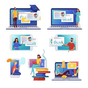 Набор плоских иллюстраций интернет обучения