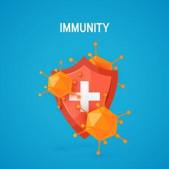 Концепция иммунитета в мультяшном стиле, иллюстрация