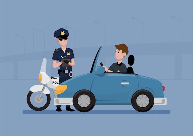 警察官がチケットを書く