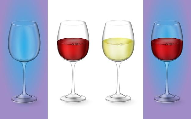 リアルなイラスト。赤と白のワインで透明な孤立したワイングラス。アルコール飲料のグラス。