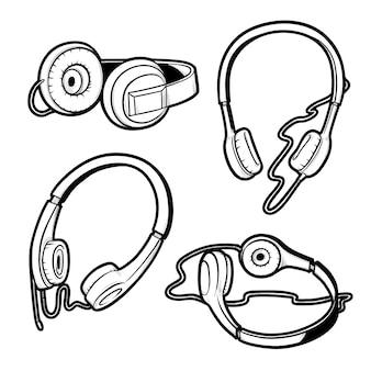 マイク付きとそれなしのヘッドフォンのセットの黒と白のスケッチ図。さまざまな角度からハンドヘッドセットの分離された図面。
