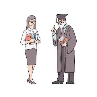 教師の女性と教授の男。白のラインアートスタイルの人々図