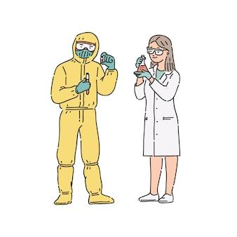 科学者-化学者の女性とプロの制服を着た男。白のラインアートスタイルの人々図