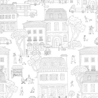 シームレスパターン背景。ヨーロッパの都市の都市通り。歩いている人、カフェやショップのある住宅、街のさまざまな生活状況