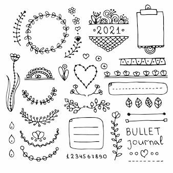 Пуля журнал рисованной векторные элементы для ноутбука, дневник и планировщик.