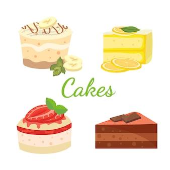 ケーキセット。ベクトル漫画イラスト