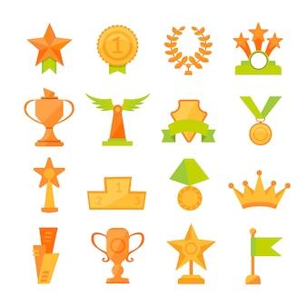 Значки вектора установили золотых чашек награды спорта в современном плоском стиле.