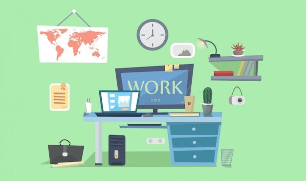 職場。コンピューター、ランプ、書籍、フォトフレーム付きデザイナーデスク。ベクトルの背景