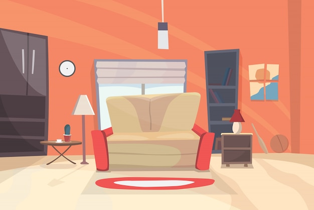 Иллюстрация шаржа живущей комнаты