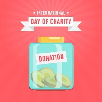 Концепция ящика для пожертвований в международный день благотворительности