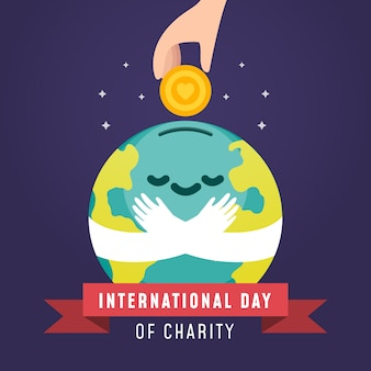 Международный день благотворительности улыбающийся мир с денежными пожертвованиями