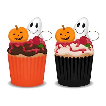 幽霊、カボチャ、チェリーのハロウィーンのカップケーキ。ハロウィーンパーティーのためのかわいいカップケーキ。