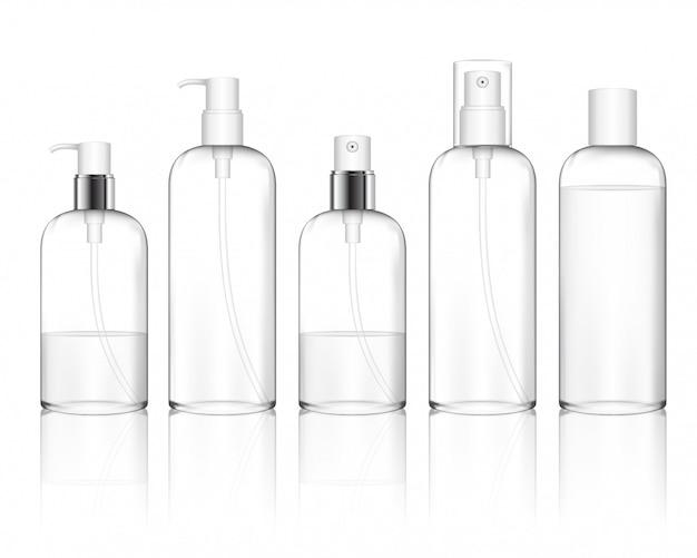 キャップが異なる化粧品のプラスチックボトル(スプレー、ディスペンサーポンプ)。ジェル、リキッド、ローション、クリーム、シャンプー、バスフォームのスキンケアボトル。美容製品パッケージ(透明)。