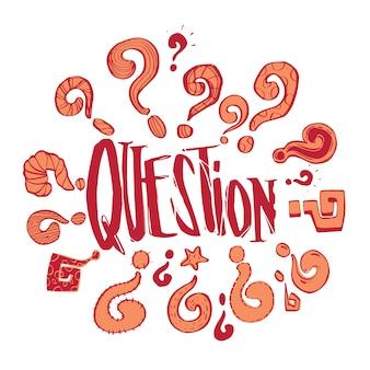 Рисованные вопросы фаз и набора вопросительных знаков, бизнес-задачи и концепция решения, векторный дизайн иллюстрации.