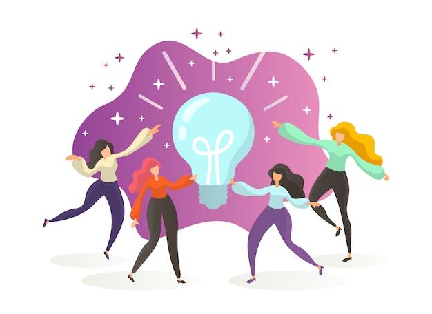 大きな電球のアイデアを持つビジネス人々。イノベーション、ブレーンストーミング、創造性。