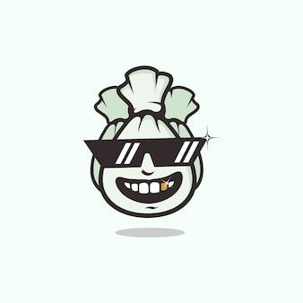 クールな眼鏡マスコットロゴを使用してお金の袋を持つ豊かな人々のシンボル