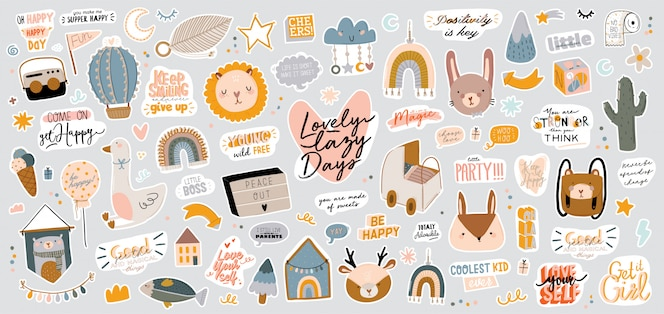 トレンディな引用やクールな動物の装飾的な手描きの要素を含むかわいい子供たちのスカンジナビア文字セット。