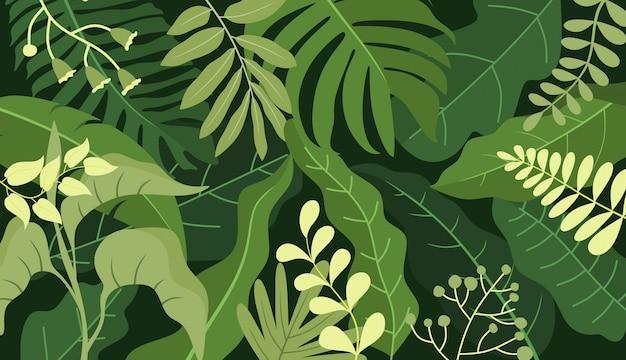 葉-バナーテンプレートと抽象的な背景。