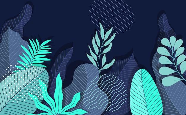トレンディなフラットで直線的なスタイル-葉と植物の抽象的なシンプルな背景のイラスト。