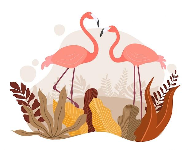 夏のヤシの葉とエキゾチックなピンクのフラミンゴ